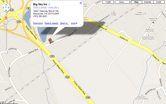 Map and Directions to Big Sky Inc.